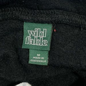 wild fable Tops - White Fable Cropped Black Sweatshirt